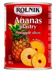 ROLNIK ananas plastry 560g